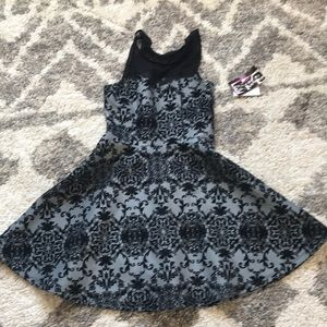 Black and grey burnt out velvet party dress!
